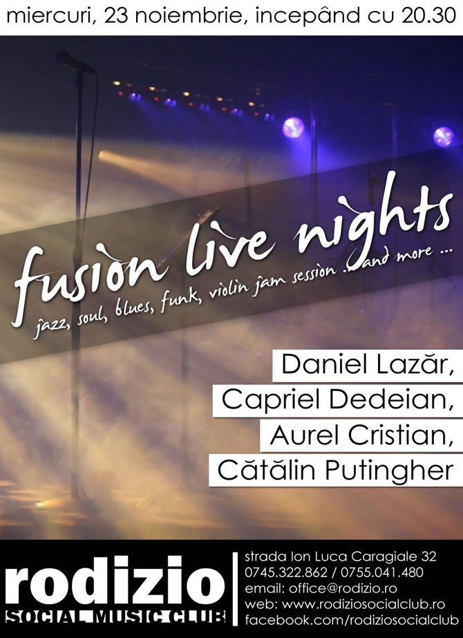 Fusion Live Nights | Jazz, Soul, Blues, Violin Jam Session ... | Miercuri, 23 noiembrie, de la 20.30