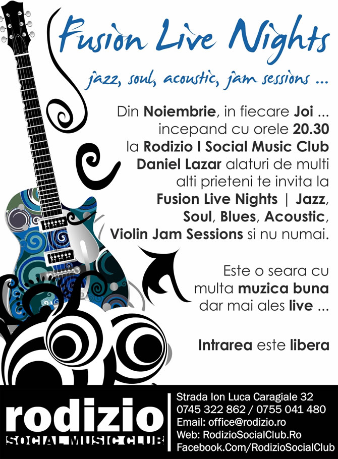 Fusion Live Nights | Jazz, Soul, Blues, Funk, Acoustic, Violin Jam Session | 3 Noiembrie | De la 20.30
