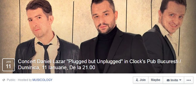 Duminica, 11 Ianuarie, de la 21.00 in Clock's Pub Bucuresti, Daniel Lazar reia seria concertelor acustice … Plugged but Unplugged | Acoustic Live Sessions